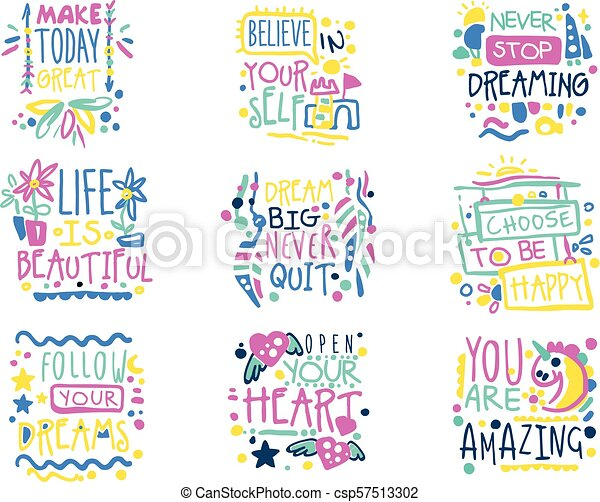 Short Possitive Messages Inspirational Quotes Colorful Hand Drawn
