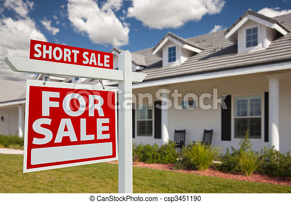 Short Sale Real Estate Sign and House - Left - csp3451190