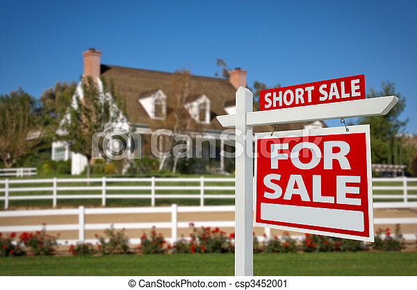 Short Sale Real Estate Sign and House - csp3452001
