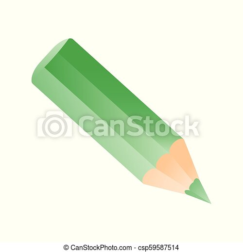 Short small pencil icon. Green colorful pencil - csp59587514