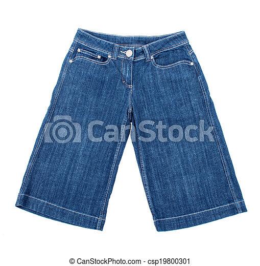 shorts bleu, isolé, fond, jean, blanc - csp19800301