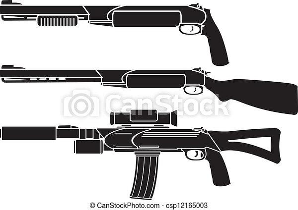 shotgun, gun and rifle. stencil - csp12165003