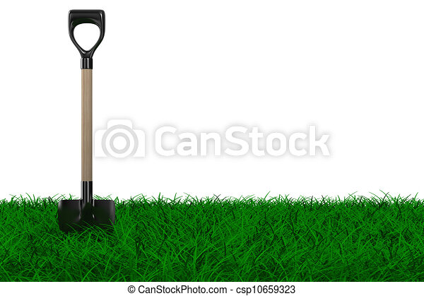Shovel on grass. garden tool. Isolated 3D image - csp10659323