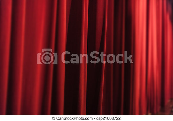 Show Curtains A Closed Red Stage Curtain In Small Theater