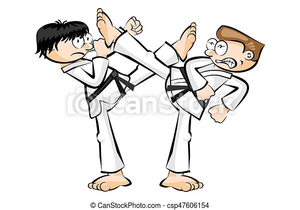 two men in show karate fight isolated on white conceptual vector
