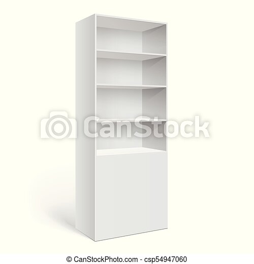 Showcase Display Retail Shelf Rack Isolated On The White Background Mockup Template For Your Design Vector Illustration