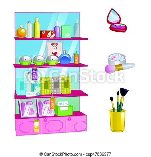 Showcase with cosmetics, perfume and makeup items isolated on white