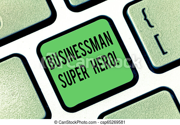 Escribir a mano conceptual mostrando un super héroe de análisis de negocios. La exposición de fotos de negocios asume el riesgo de un negocio o la empresa de la clave Keyboard para crear una idea de mensaje informático. - csp65269581