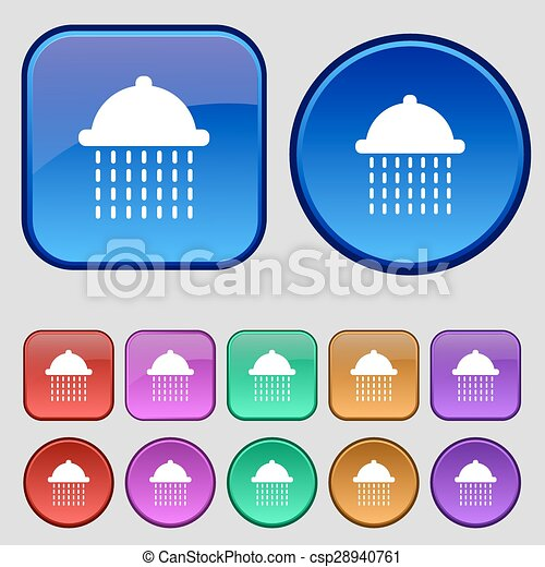 shower icon sign. A set of twelve vintage buttons for your design. Vector - csp28940761