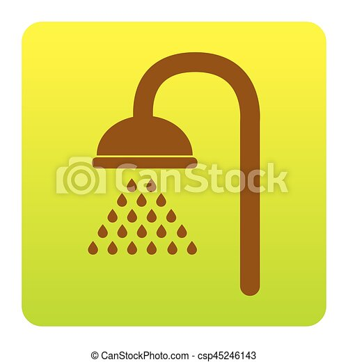 Shower sign. Vector. Brown icon at green-yellow gradient square with rounded corners on white background. Isolated. - csp45246143