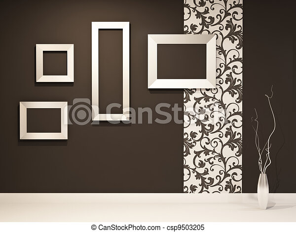empty frames on the black wall with decoration stock illustration - Empty Frames On Wall