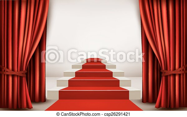 Showroom with red carpet leading to a podium with curtains. Vector - csp26291421
