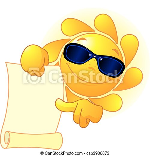 Die Sonne zeigt eine Schriftrolle - csp3906873