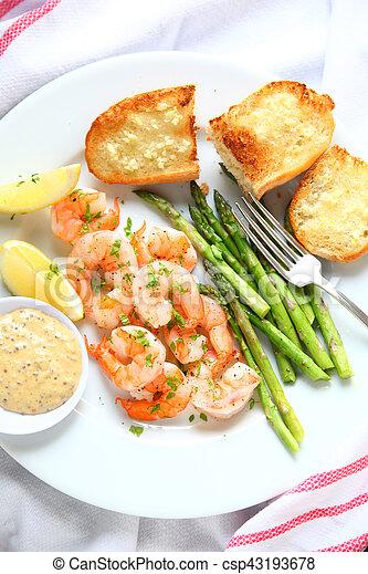 Shrimp and asparagus dinner vertical - csp43193678
