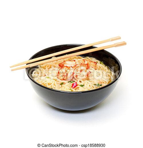 Shrimp and noodle soup bowl with chopsticks - csp18588930