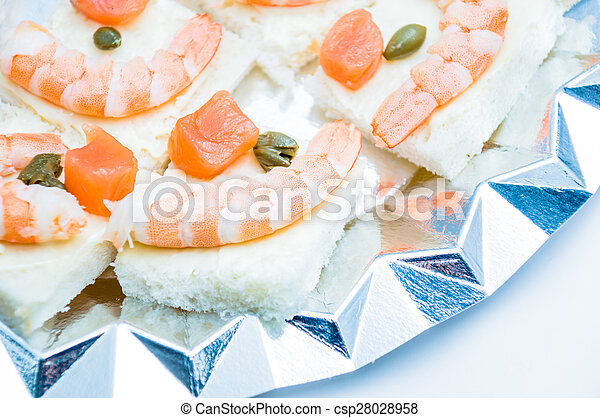 shrimp and salmon canape - csp28028958