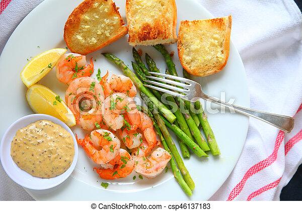 Shrimp dinner with honey mustard sauce - csp46137183