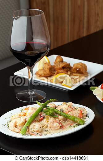 Shrimp Scampi with Pasta - csp14418631
