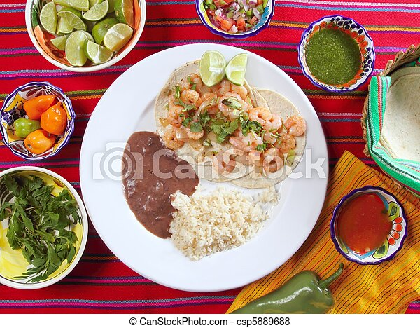 shrimp tacos rice and frijoles chili sauces Mexican - csp5889688