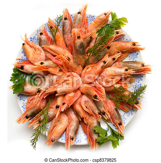 shrimp with parsley on a plate - csp8379825