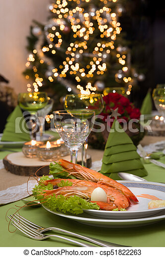 Shrimps appetizer and christmas tree