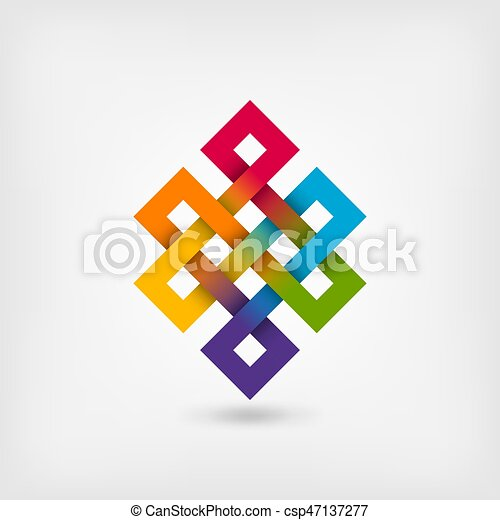 Shrivatsa endless knot in rainbow colors - csp47137277