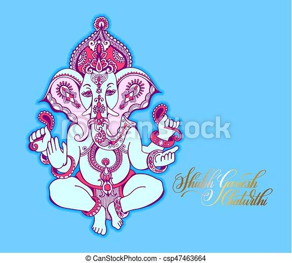 Shubh ganesh chaturthi greeting card to indian celebration holiday shubh ganesh chaturthi greeting card to indian celebration csp47463664 m4hsunfo