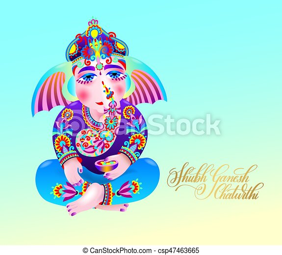 Shubh ganesh chaturthi greeting card to indian celebration holiday shubh ganesh chaturthi greeting card to indian celebration csp47463665 m4hsunfo