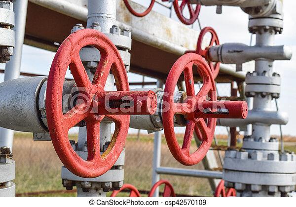 Shut-off valve valve with manual drive. Red steering wheel lock gate valve. oil well equipment - csp42570109