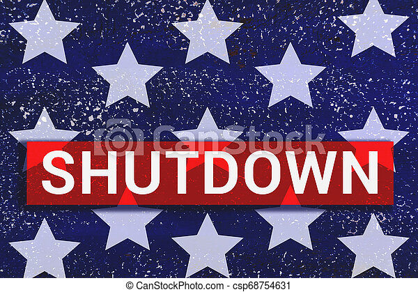Shutdown Text With stars of Us Flag on blue background - csp68754631