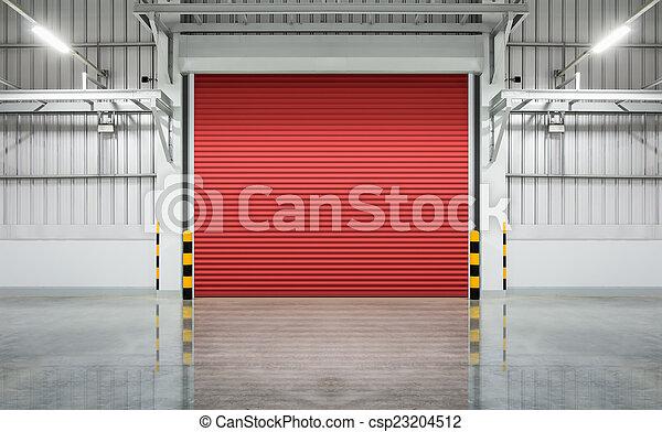 Shutter Door Stock Photo & Shutter door or rolling door red color night scene. stock ... pezcame.com