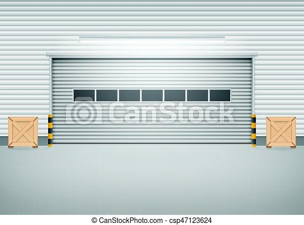 Shutter Door Vector Vector Of Roller Shutter Door And Concrete Floor Outside Factory Building For Industrial Background Canstock