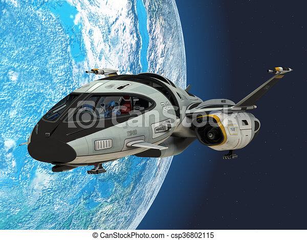 shuttlestar, terra, orbita - csp36802115