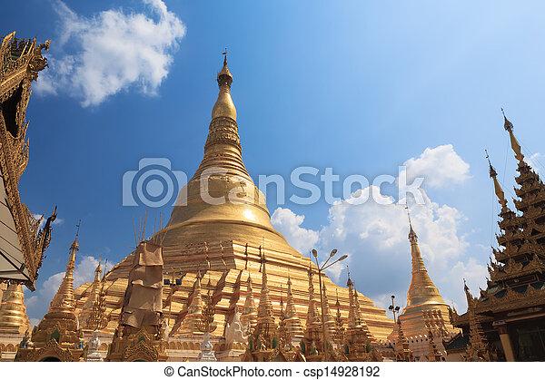 Shwedagon pagoda in Yangon, Burma (Myanmar) - csp14928192