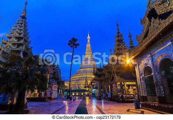 Shwedagon pagoda in Yangon, Myanmar (Burma) They are public doma - csp23172179