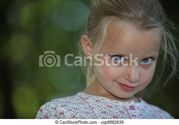 shy blonde little girl - csp8882639