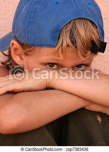 shy lonely unhappy scared sad street kid - csp7383436
