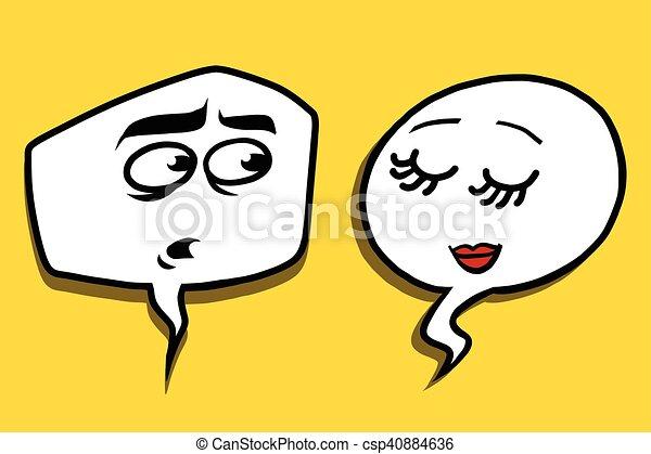 shy modest comic bubble face man woman - csp40884636