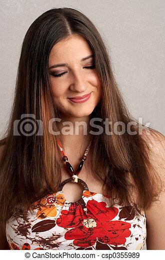 shy smile - csp0355989