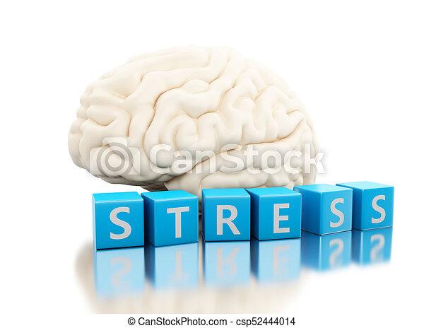 siła, kostki, słowo, mózg, ludzki, 3d - csp52444014
