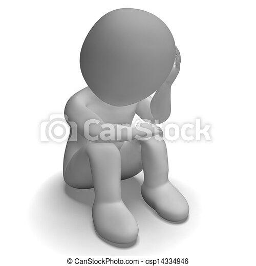 siła, litera, nieszczęśliwy, smutny, posiadanie, 3d - csp14334946