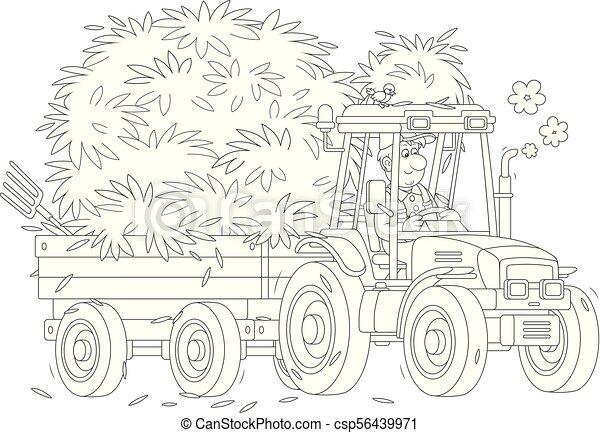 Siano Transport Traktor Wektor Styl Kolorowanie Napędowy Jego