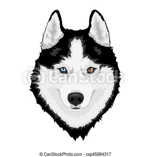 siberian husky dog black and white siberian husky with vector rh canstockphoto com husky clipart free husky clipper