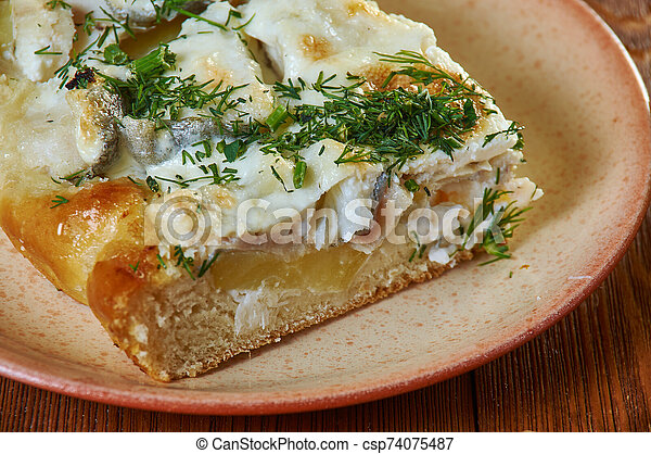 Siberian pie with fish and potatoes - csp74075487