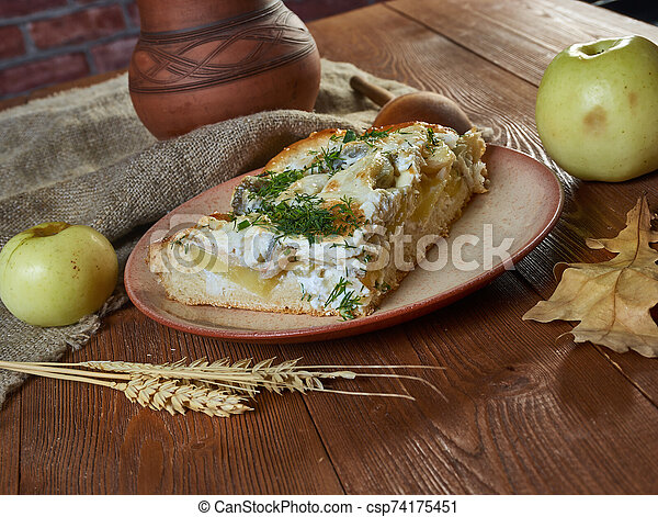 Siberian pie with fish and potatoes - csp74175451