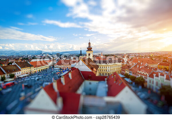 Sibiu cityscape view - csp28765439