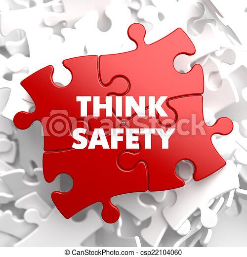 Denken Sie an die Sicherheit auf Rotes Puzzle. - csp22104060