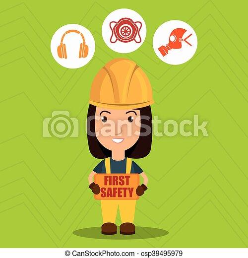 sicherheit zuerst, arbeiter, ikone - csp39495979