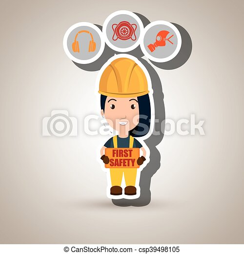 sicherheit zuerst, arbeiter, ikone - csp39498105