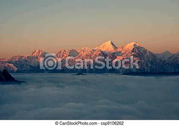 sichuan, montagna, cadute, occidentale, bestiame, porcellana, nuvola - csp9106262